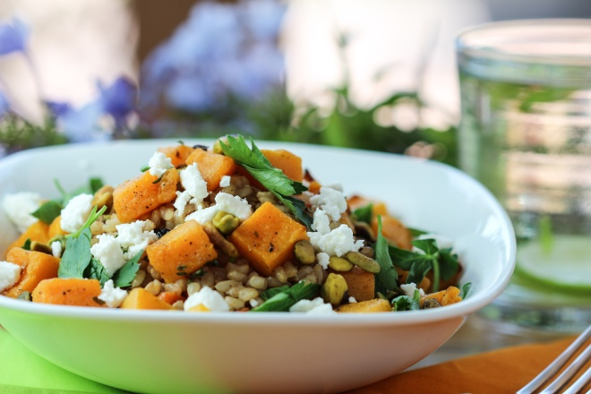 Rice Pilaf with Roasted Butternut Squash, Barberries, and Pistachios