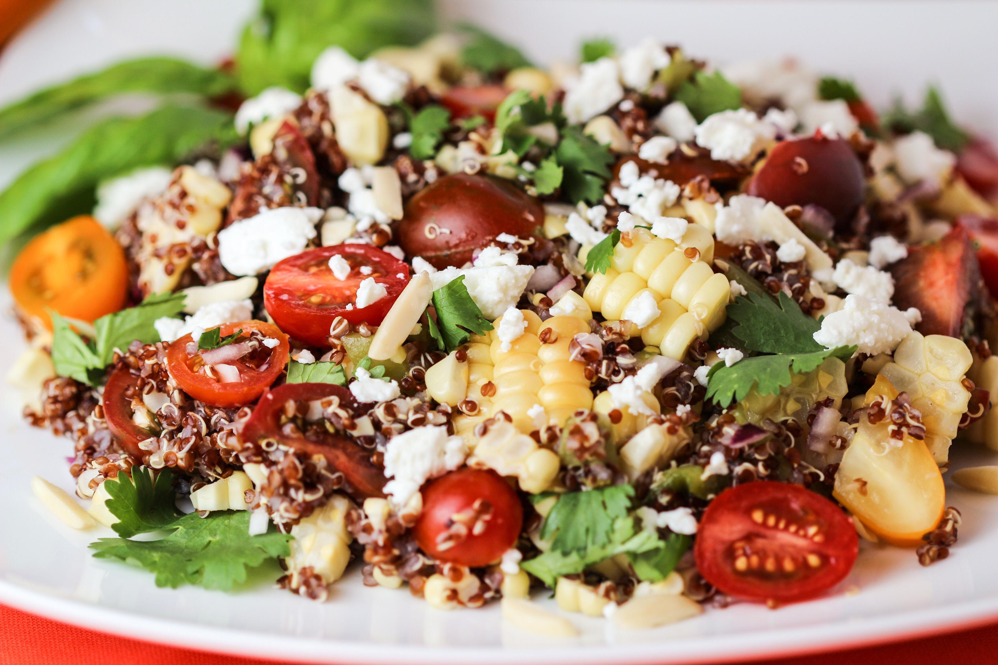 Grilled Corn, Tomato and Feta Quinoa Salad with Citrus Vinaigrette