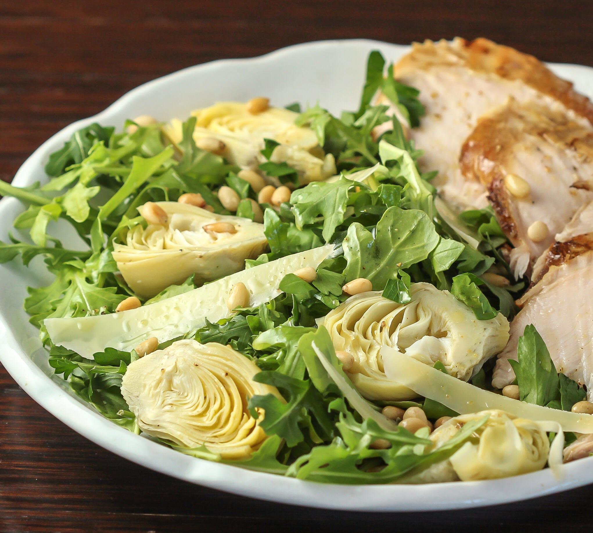 Salad with Pecorino Romano Cheese, Pine Nuts and Lemon Vinaigrette