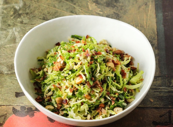 Shaved Brussels Sprouts Salad with Hazelnuts and Bacon