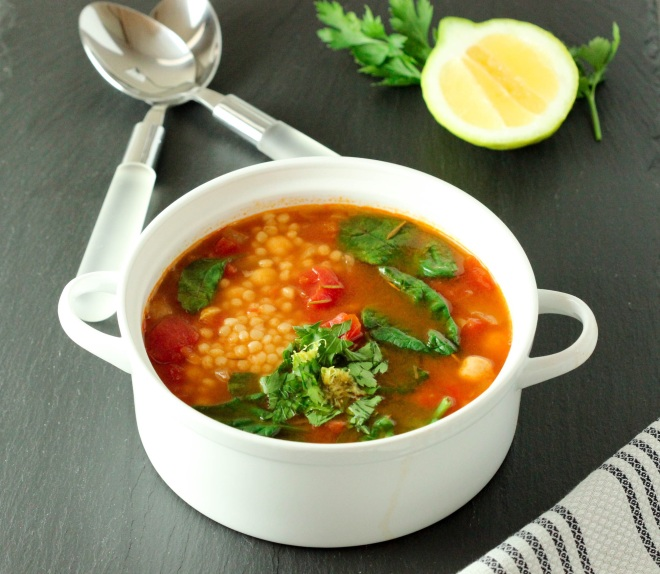 Spinach and Chickpeas Soup with Pearl Couscous