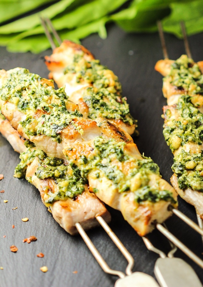 Chicken Skewers with Dandelion Pesto
