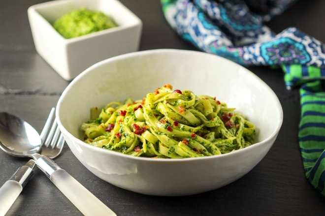 Pasta with Spinach Pesto and Bacon Bites