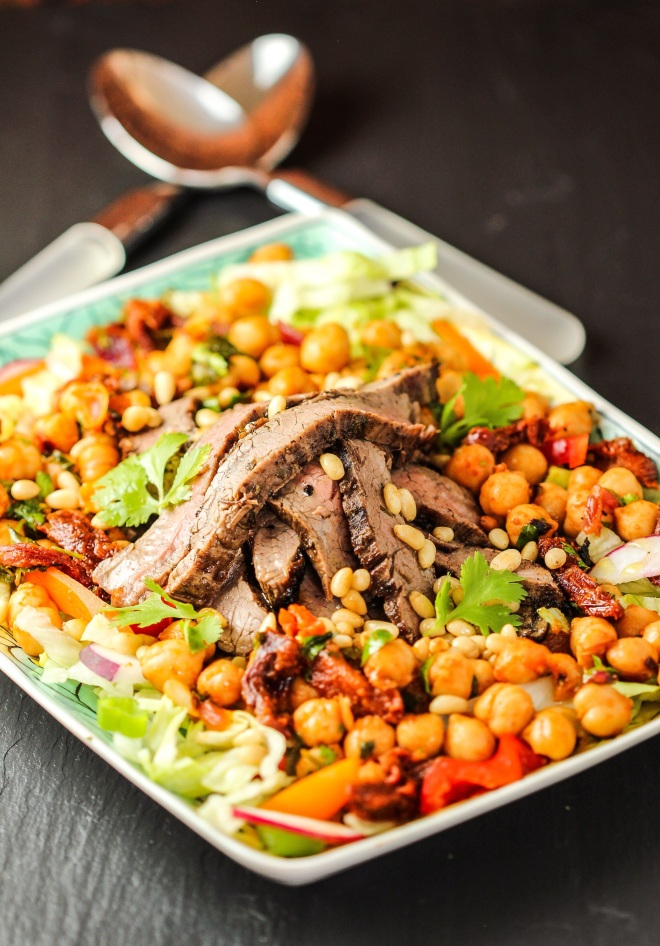 Middle Eastern Flank Steak with Chickpeas and Sun Dried Tomatoes Salad