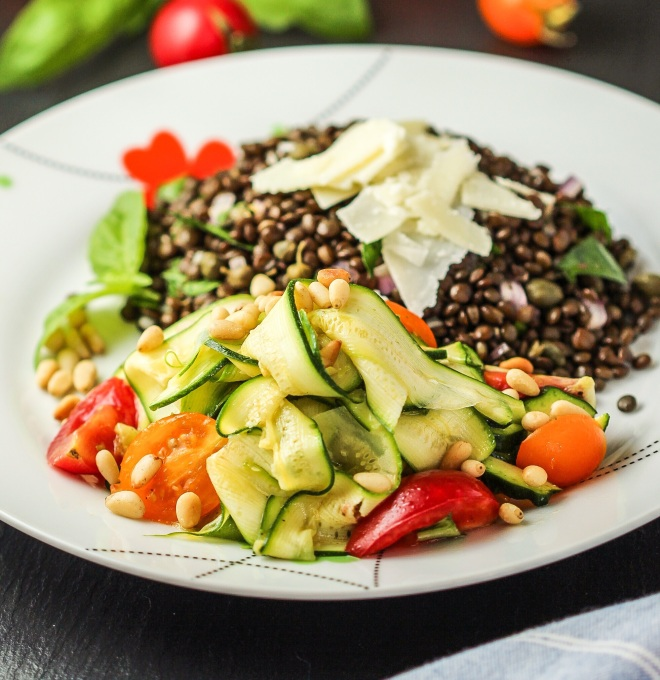Black Lentil Salad with Zucchini, Tomatoes, and Pine Nuts