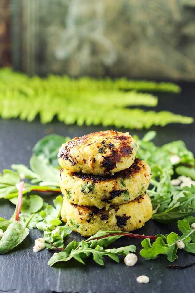 Spaghetti Squash Patties with Creamy Mustard Sauce