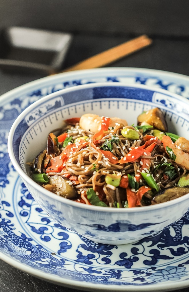 Stir-Fried Eggplant with Shrimp, Edamame and Soba Noodles