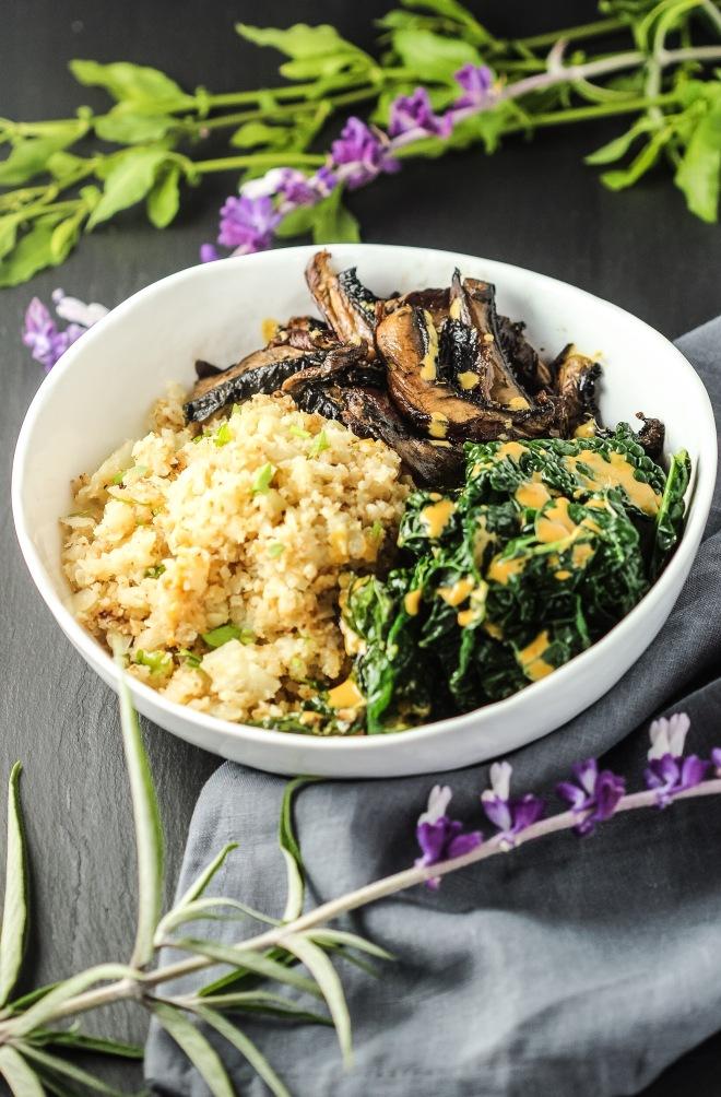 Roasted Mushrooms + Creamy Kale+ Cauliflower Rice Bowl