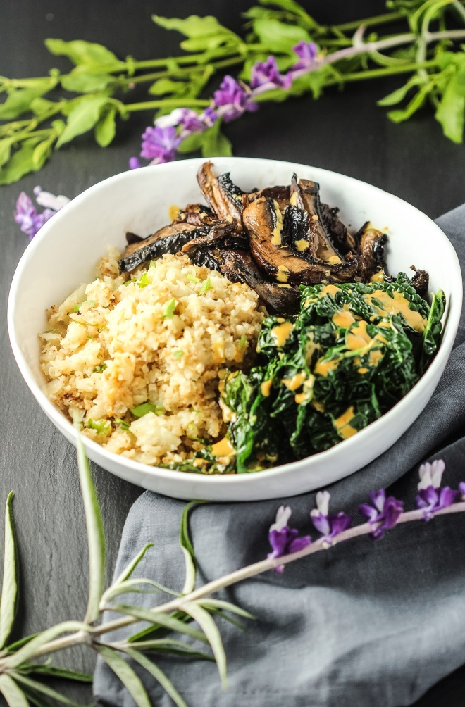 Roasted Mushrooms + Creamy Kale+ Cauliflower Rice Bowl