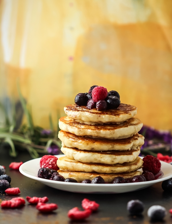 Banana Almond Pancakes with Blueberry Syrup
