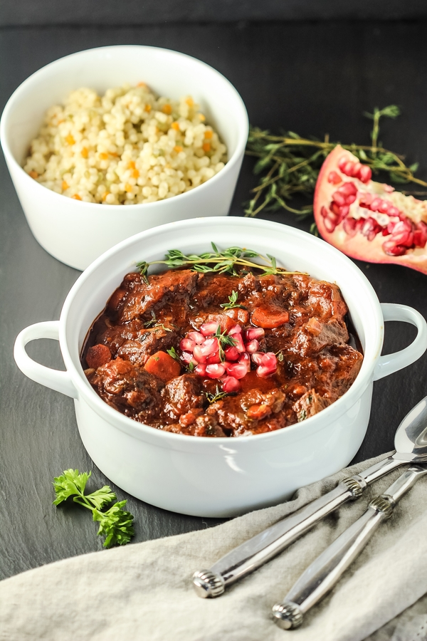 Slow-Cooked Beef with Tart Cherries and Tomatoes (with a hint of coffee)